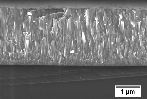 Secondary electron micrograph of AlTiN thin film deposited onto Si